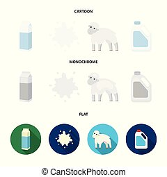 Billet pack, sheep.blue, canister.Moloko set collection icons in cartoon,flat,monochrome style vector symbol stock illustration web.