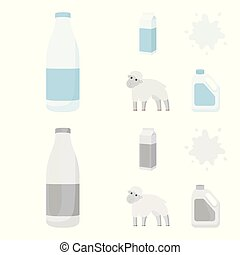 Billet pack, sheep.blue, canister.Moloko set collection icons in cartoon,monochrome style vector symbol stock illustration web.