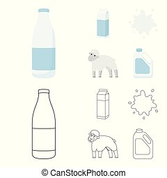 Billet pack, sheep.blue, canister.Moloko set collection icons in cartoon,outline style vector symbol stock illustration web.