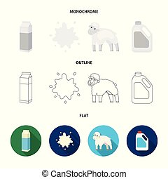 Billet pack, sheep.blue, canister.Moloko set collection icons in flat,outline,monochrome style vector symbol stock illustration web.