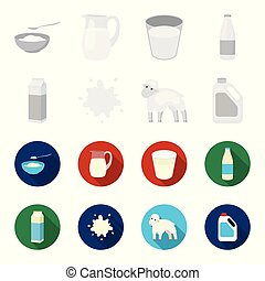 Billet pack, sheep.blue, canister.Moloko set collection icons in monochrome,flat style vector symbol stock illustration web.