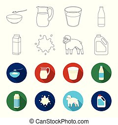 Billet pack, sheep.blue, canister.Moloko set collection icons in outline,flet style vector symbol stock illustration web.