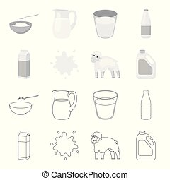 Billet pack, sheep.blue, canister.Moloko set collection icons in outline,monochrome style vector symbol stock illustration web.