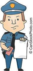 billet, police, illustration, homme