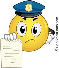 billet, smiley, police, illustration, mascotte