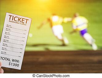billet, sports, montré, lancer, sport, jeu, fond, bookmaker, tv, parier