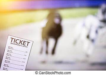 billet, sports, spectacles, course, fond, chien, bookmaker, tv, parier