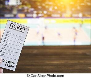 billet, sports, volley-ball, fond, volley-ball, bookmaker, tv montrent, parier