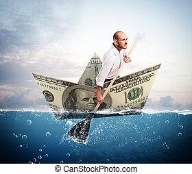 billete de banco, barco, escape