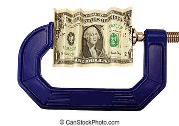 billete de un dólar, pellizcado, en, abrazadera