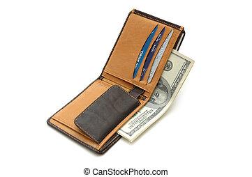 billetera abierta, con, dólares, aislado, blanco