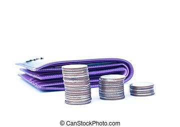 billetera, blanco, coins, aislado, plano de fondo