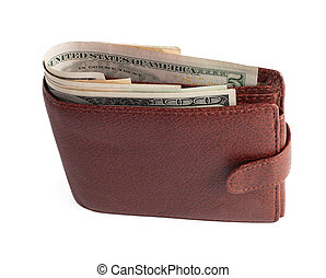 billetera, con, dólares, aislado, blanco