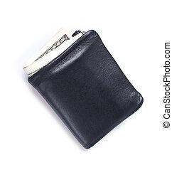 billetera, con, dólares, aislado, blanco, plano de fondo