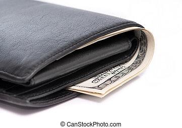 billetera, con, dólares