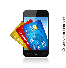 billetera, concepto, electrónico