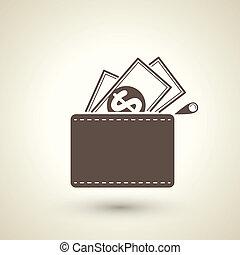 billetera, dólares, icono