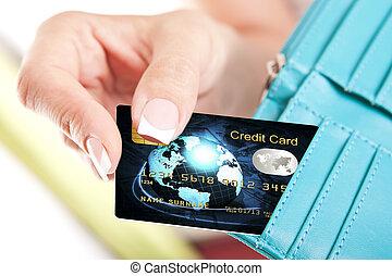 billetera, mano mujer, credito, tomado, tarjeta, afuera