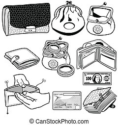 billetera, negro, iconos