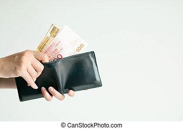 billetera, o, (dollar, hong, manos, hkd), cortocircuito, payment., dinero, escoger, kong
