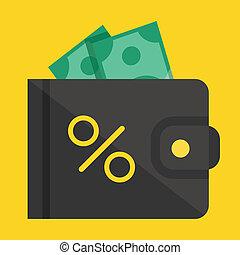 billetera, vector, dólar factura