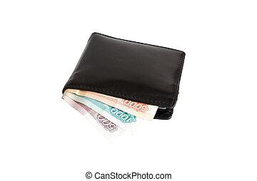 billetes de banco, billetera, rubles, aislado, ruso