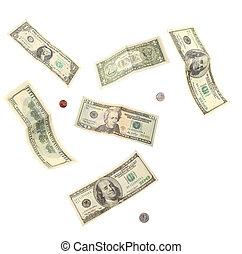 billetes de banco, coins, dólar