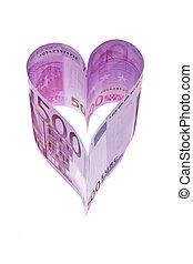 billetes de banco, corazón, forma, euro