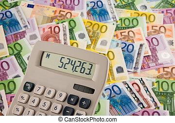 billetes de banco de euro, con, calculadora