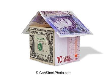billetes de banco, moneda, concepto, aislado, casa