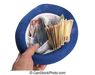 billetes de banco, sombrero, euro