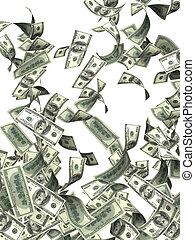 billetes de banco, vuelo, dólar
