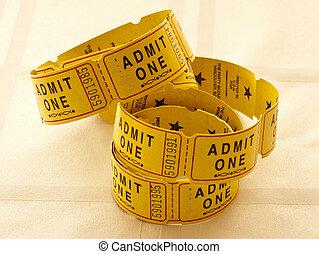 billets, admettre, jaune, une