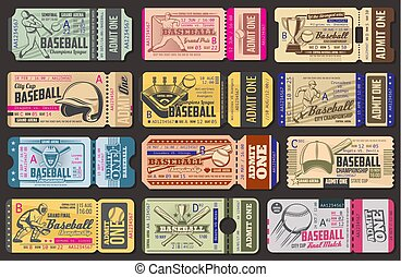 billets, admission, vecteur, jeu base-ball