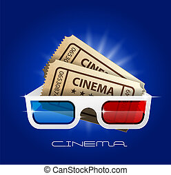 billets, art, cinéma, film, regarder, -, 3d lunettes