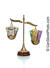 billets banque, échelle, dollar, euro