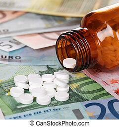 billets banque, élevé, cout, healthcare, médecine, euro
