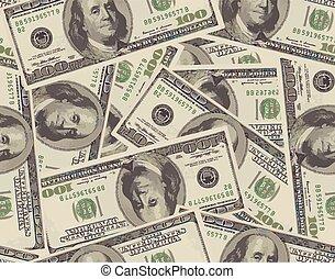 billets banque, 100, dollar, seamless, fond
