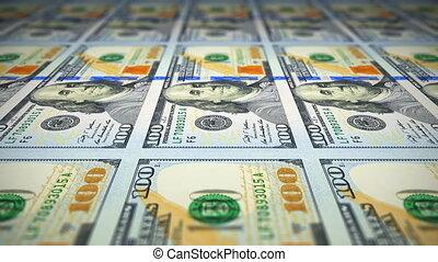 billets banque, 100, impression, dollar