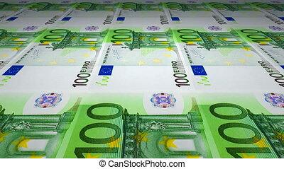 billets banque, 100, impression, euro