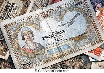 billets banque, -, ancien, vieux, argent