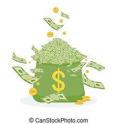 billets banque, argent, tas