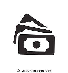 billets banque, argent, vecteur, icône