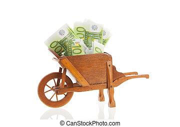 billets banque, brouette,  Euro