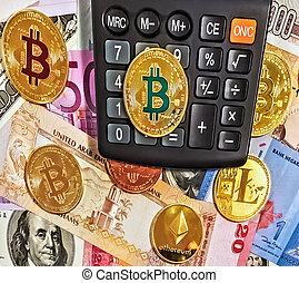 billets banque, calculatrice