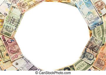 billets banque, cercle, différent