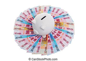 billets banque, cercle, tirelire, euro