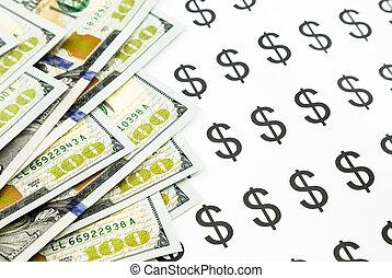 billets banque, devise argent, signe dollar