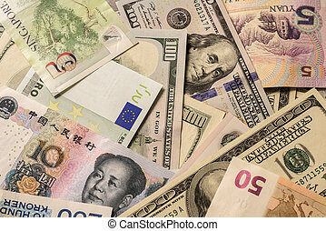 billets banque, divers, monnaie, yuan., fond, dollar, euro