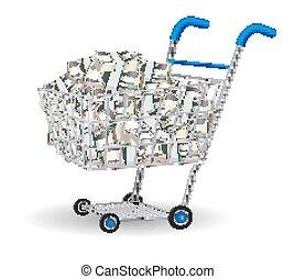 billets banque, dollar, chariot, tas